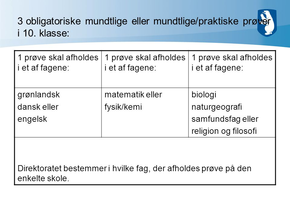 3 obligatoriske mundtlige eller mundtlige/praktiske prøver i 10