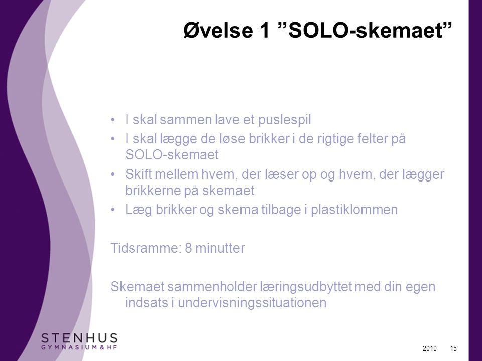 Øvelse 1 SOLO-skemaet