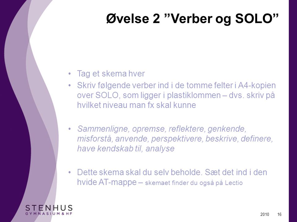 Øvelse 2 Verber og SOLO