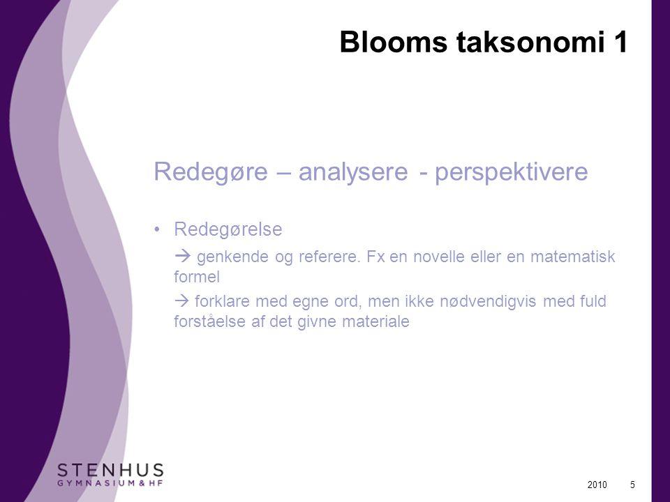 Blooms taksonomi 1 Redegøre – analysere - perspektivere Redegørelse