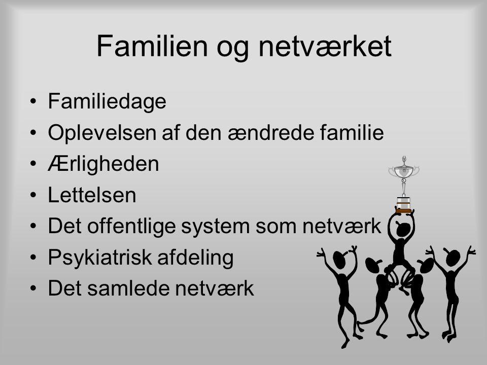 Familien og netværket Familiedage Oplevelsen af den ændrede familie