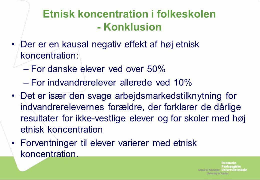 Etnisk koncentration i folkeskolen - Konklusion