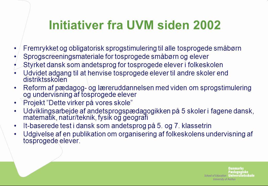 Initiativer fra UVM siden 2002
