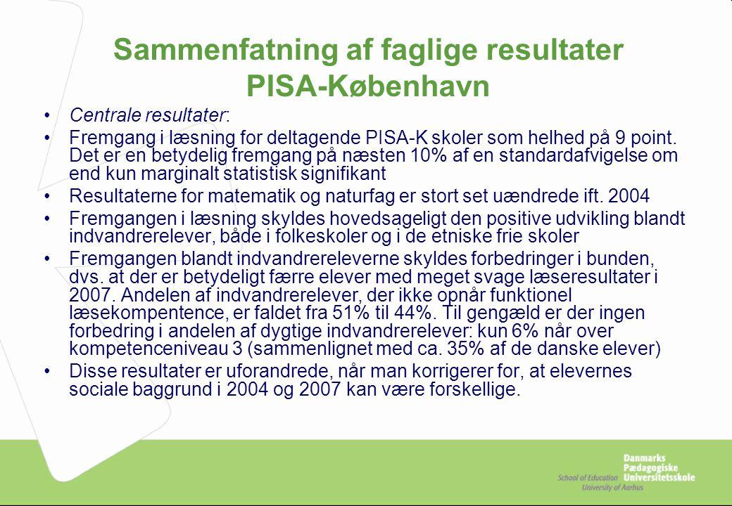 Sammenfatning af faglige resultater PISA-København