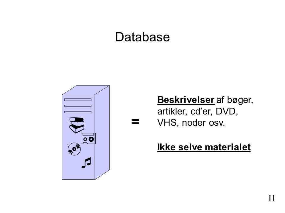 Database Beskrivelser af bøger, artikler, cd'er, DVD, VHS, noder osv.  =   Ikke selve materialet.