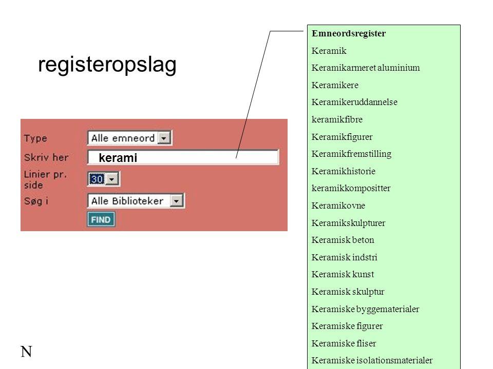 registeropslag N kerami Emneordsregister Keramik