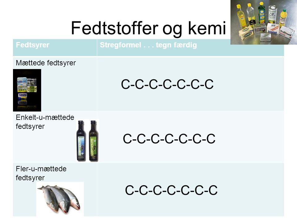 Fedtstoffer og kemi Fedtsyrer Stregformel . . . tegn færdig
