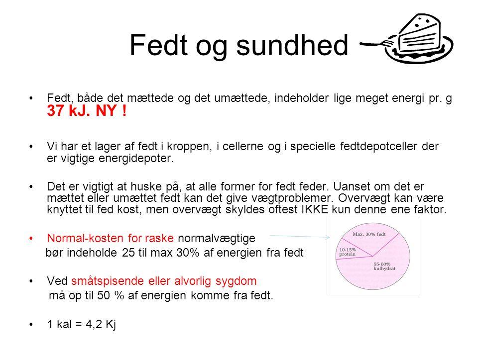 Fedt og sundhed Fedt, både det mættede og det umættede, indeholder lige meget energi pr. g 37 kJ. NY !