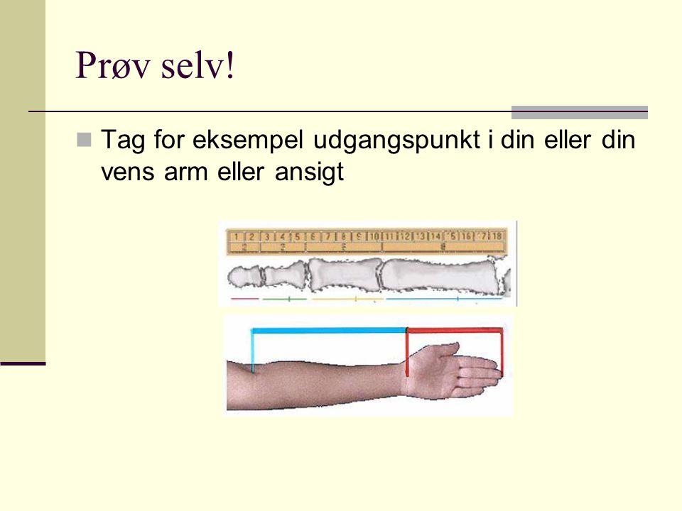 Prøv selv! Tag for eksempel udgangspunkt i din eller din vens arm eller ansigt