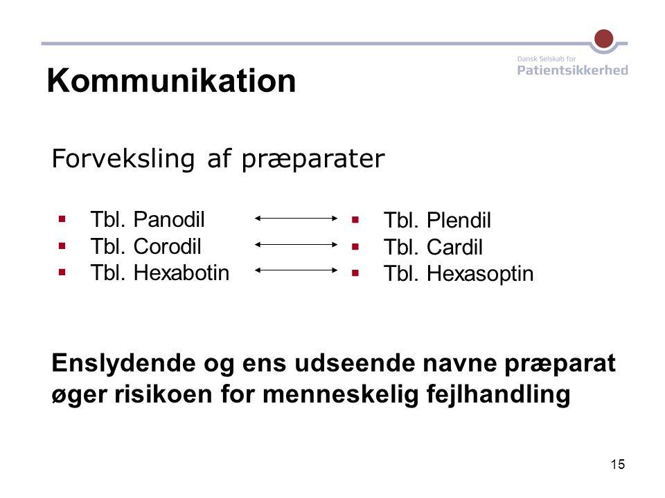 Kommunikation Forveksling af præparater
