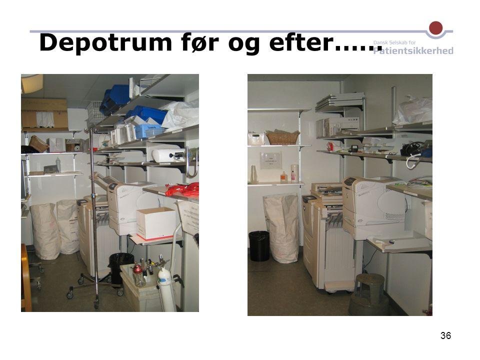 Depotrum før og efter……
