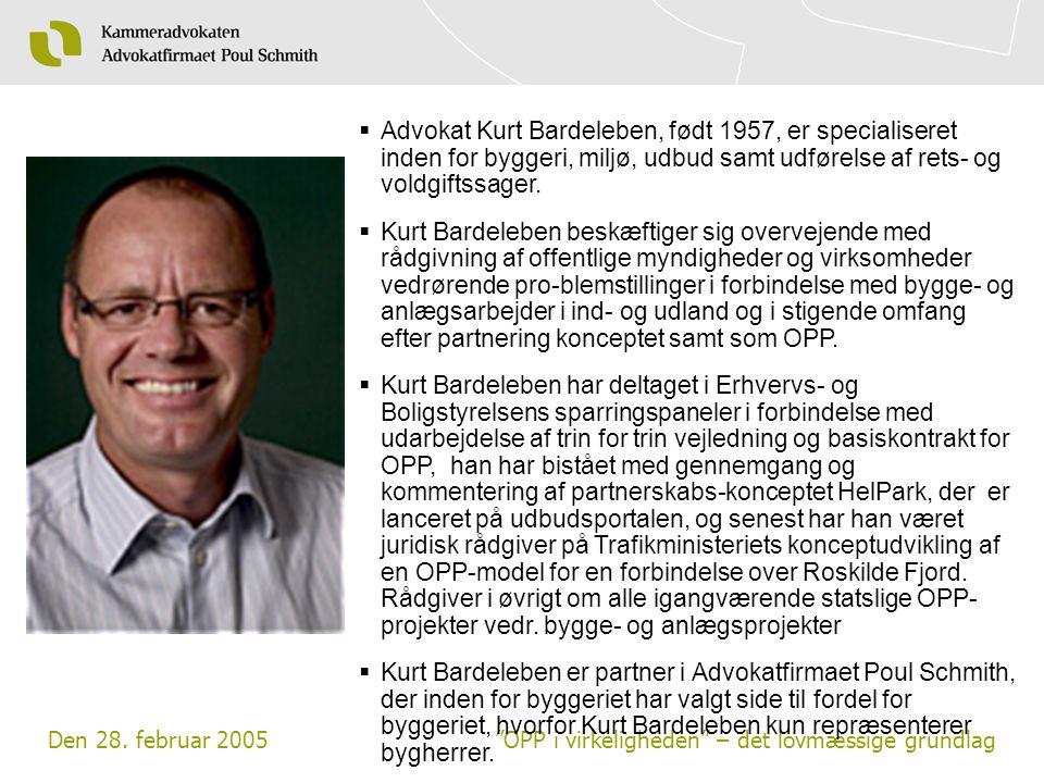Advokat Kurt Bardeleben, født 1957, er specialiseret inden for byggeri, miljø, udbud samt udførelse af rets- og voldgiftssager.