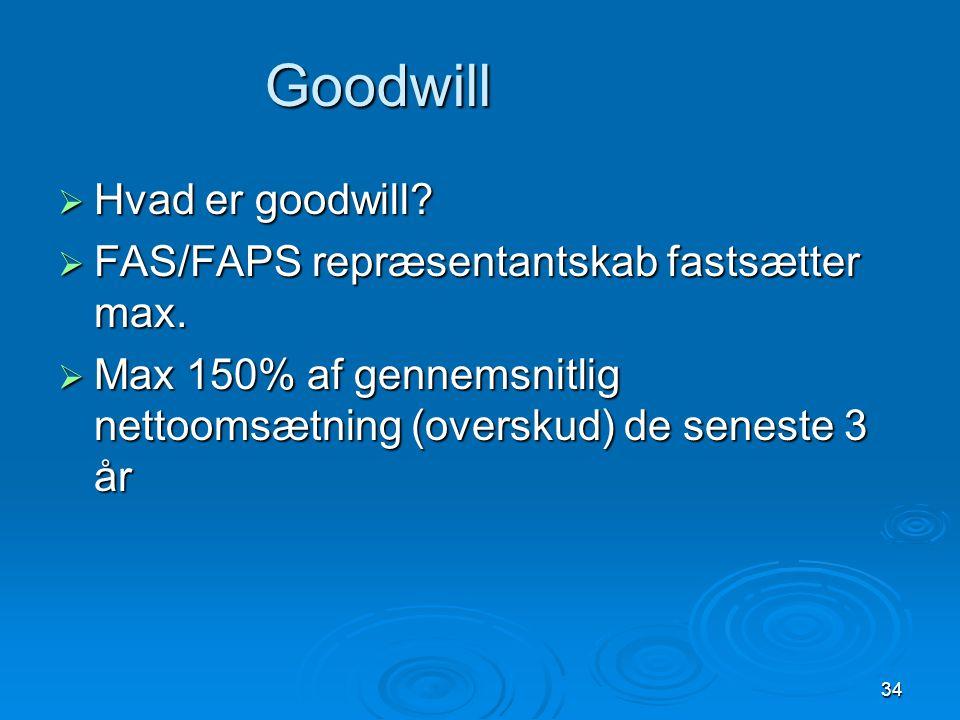 Goodwill beregning Overskud/nettoomsætning for hvert af de tre år: