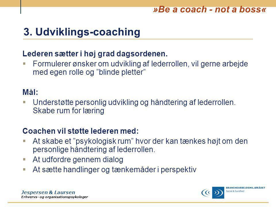 3. Udviklings-coaching Lederen sætter i høj grad dagsordenen.