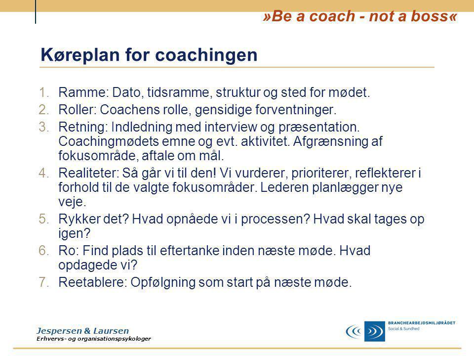 Køreplan for coachingen