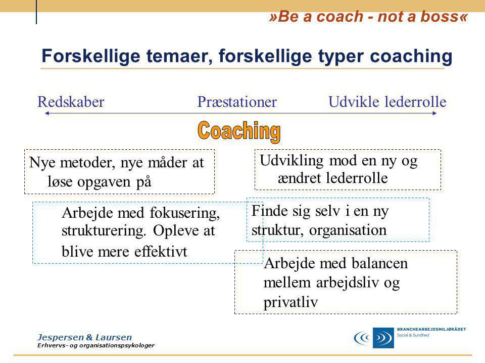 Forskellige temaer, forskellige typer coaching