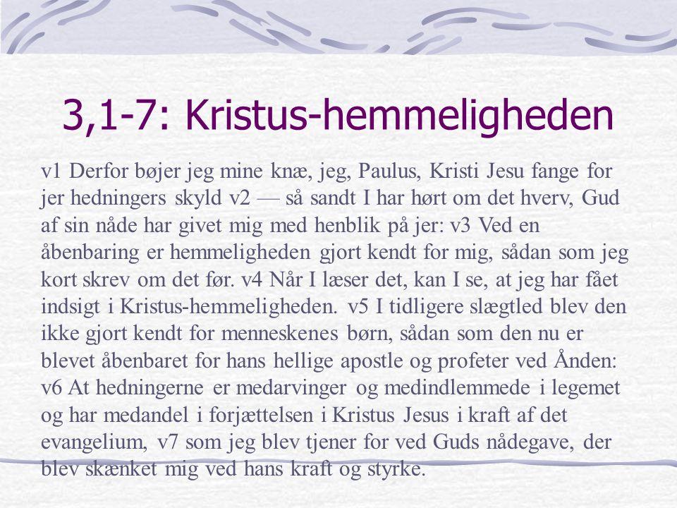 3,1-7: Kristus-hemmeligheden