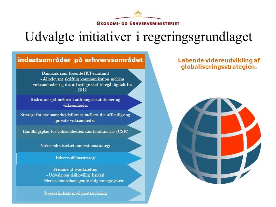 Udvalgte initiativer i regeringsgrundlaget