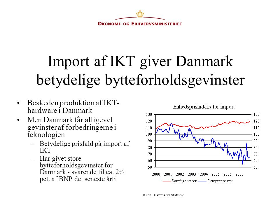 Import af IKT giver Danmark betydelige bytteforholdsgevinster