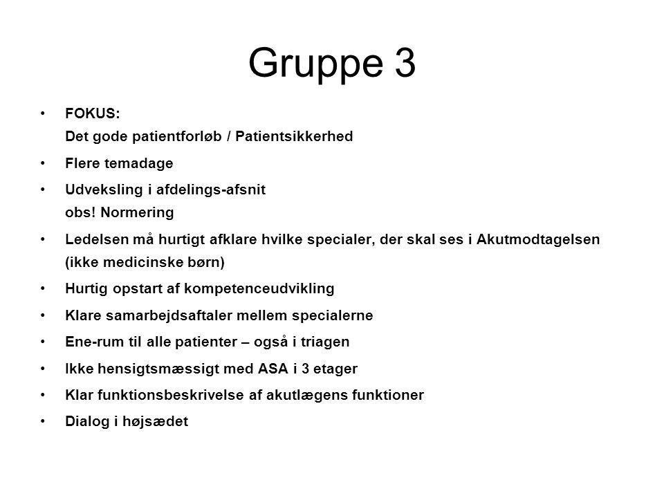 Gruppe 3 FOKUS: Det gode patientforløb / Patientsikkerhed