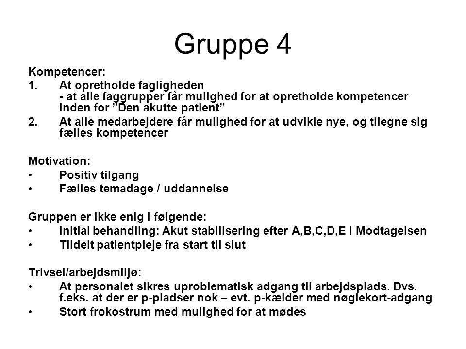 Gruppe 4 Kompetencer: At opretholde fagligheden - at alle faggrupper får mulighed for at opretholde kompetencer inden for Den akutte patient