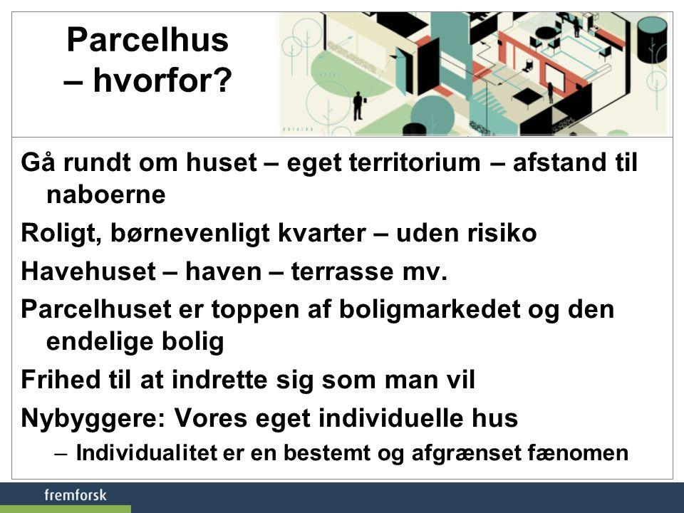 Parcelhus – hvorfor Gå rundt om huset – eget territorium – afstand til naboerne. Roligt, børnevenligt kvarter – uden risiko.