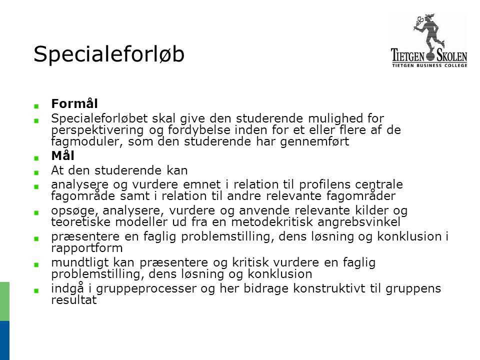 Specialeforløb Formål