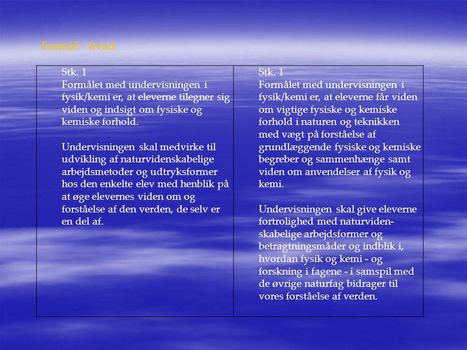 Formål - hvad Stk. 1. Formålet med undervisningen i fysik/kemi er, at eleverne tilegner sig viden og indsigt om fysiske og kemiske forhold.