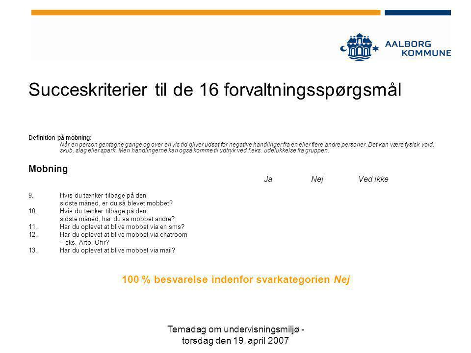 Succeskriterier til de 16 forvaltningsspørgsmål
