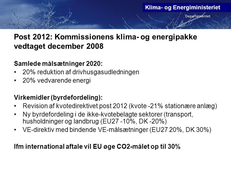 Post 2012: Kommissionens klima- og energipakke vedtaget december 2008