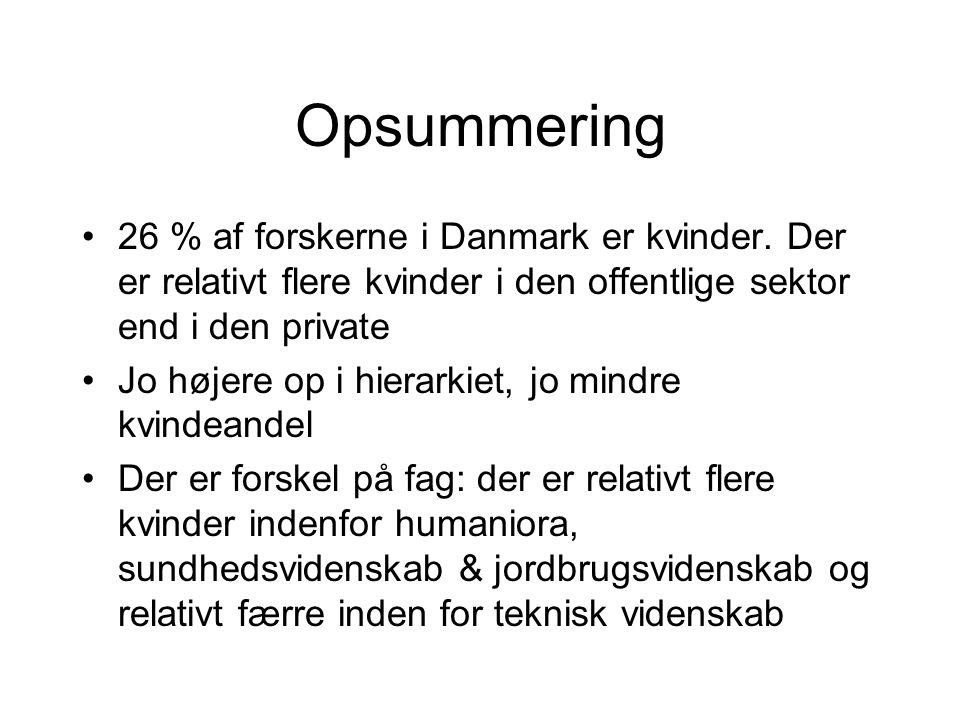 Opsummering 26 % af forskerne i Danmark er kvinder. Der er relativt flere kvinder i den offentlige sektor end i den private.