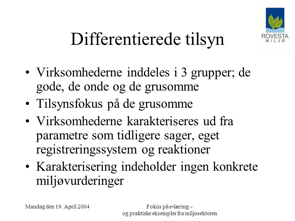 Differentierede tilsyn