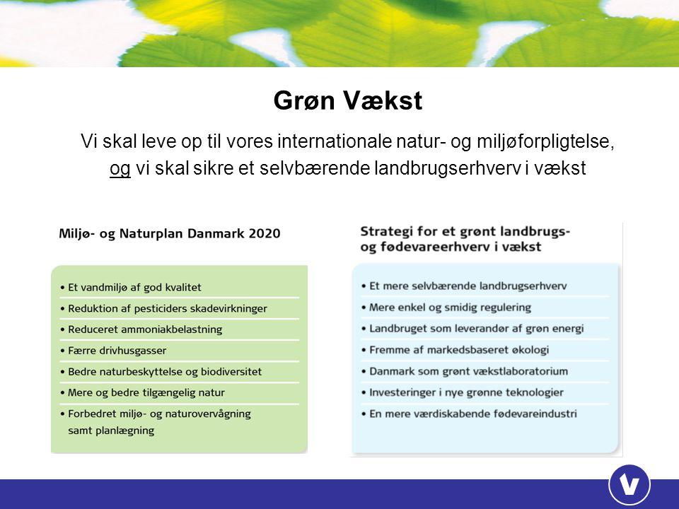 Grøn Vækst Vi skal leve op til vores internationale natur- og miljøforpligtelse, og vi skal sikre et selvbærende landbrugserhverv i vækst.