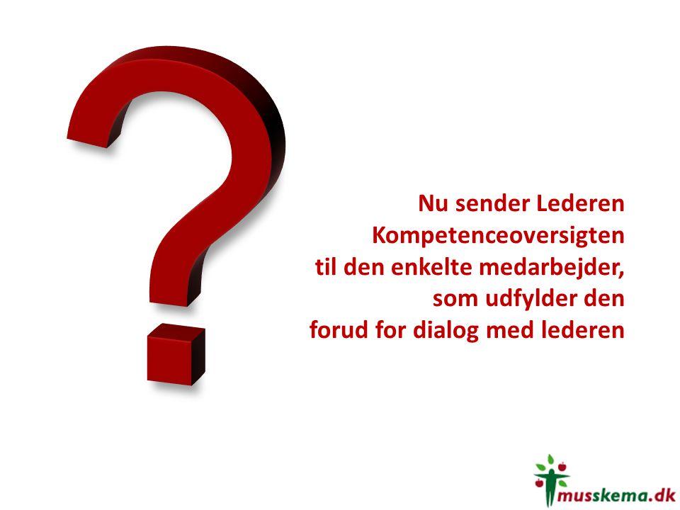 Nu sender Lederen Kompetenceoversigten til den enkelte medarbejder, som udfylder den forud for dialog med lederen.