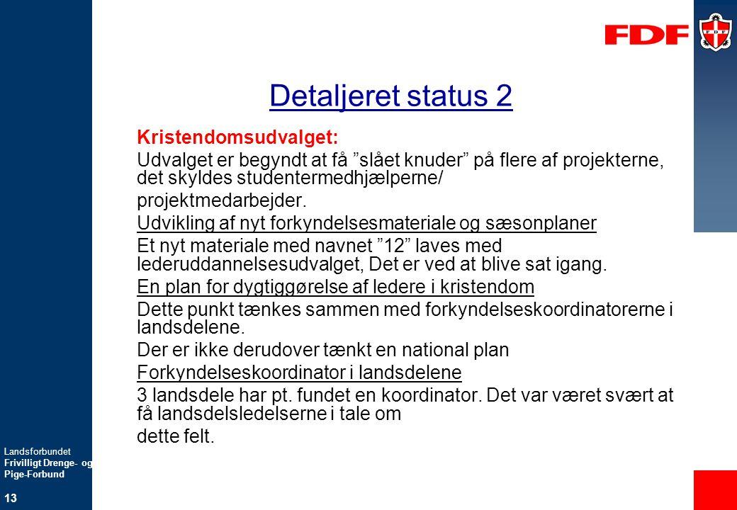 Detaljeret status 2 Kristendomsudvalget: