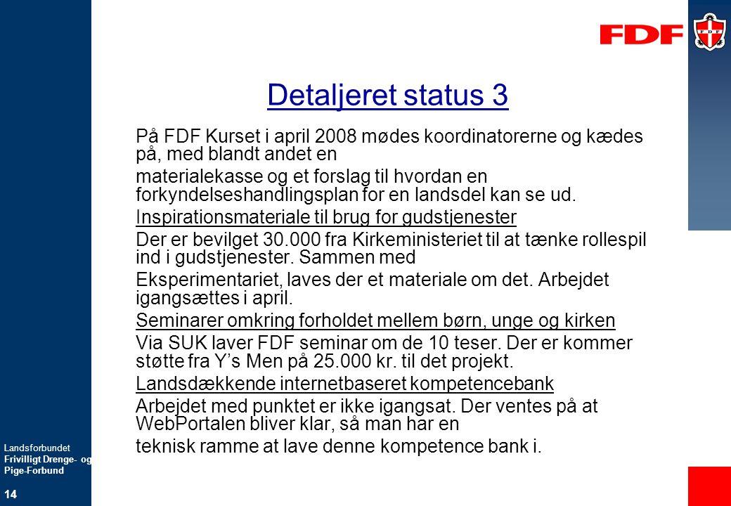 Detaljeret status 3 På FDF Kurset i april 2008 mødes koordinatorerne og kædes på, med blandt andet en.
