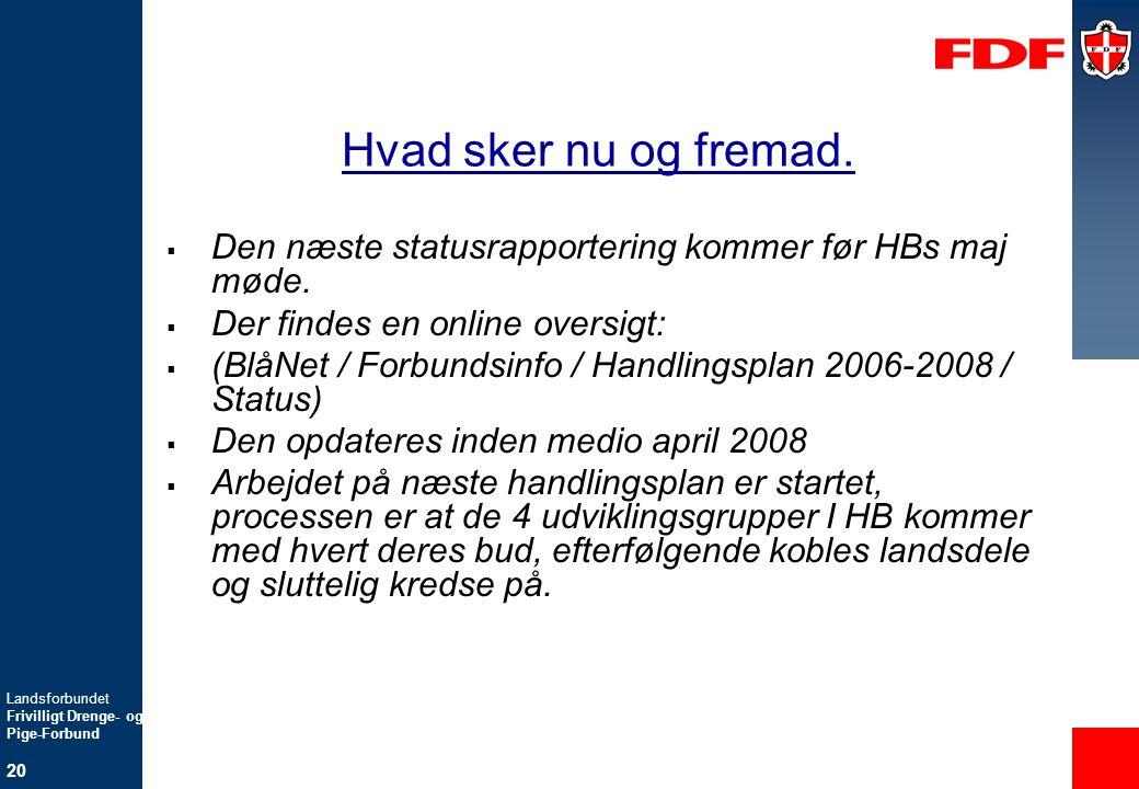 Hvad sker nu og fremad. Den næste statusrapportering kommer før HBs maj møde. Der findes en online oversigt: