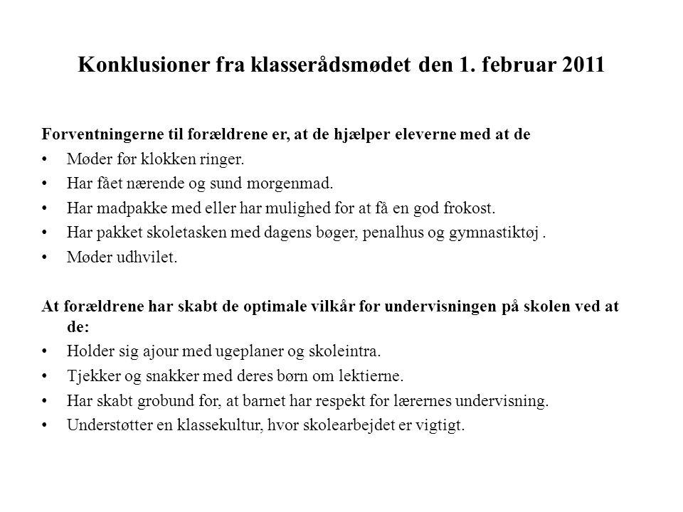 Konklusioner fra klasserådsmødet den 1. februar 2011