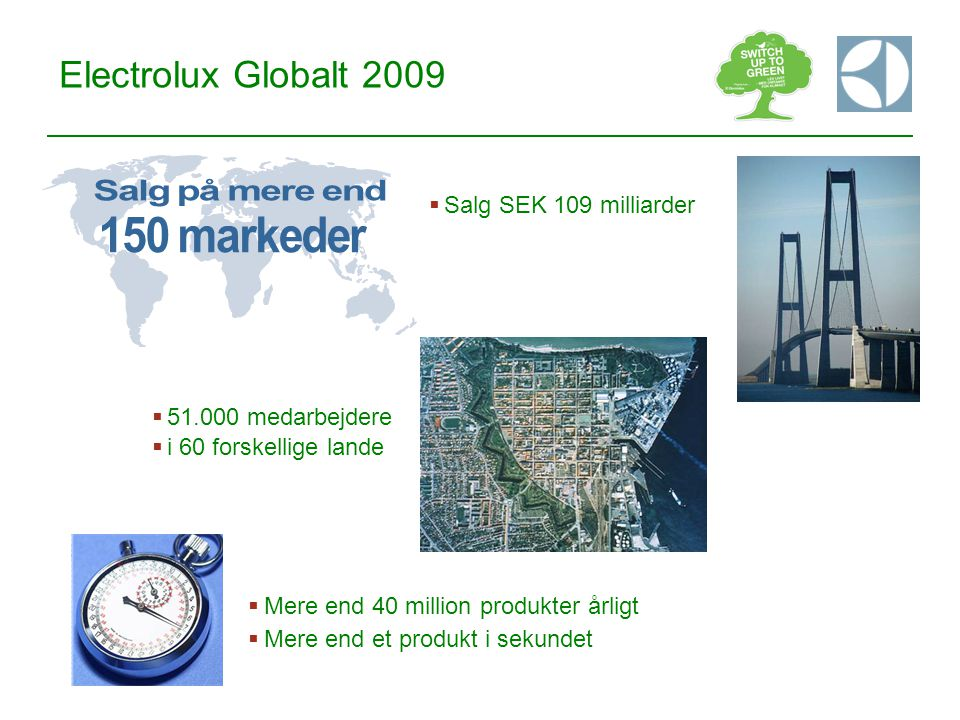 150 markeder Salg på mere end Electrolux Globalt 2009