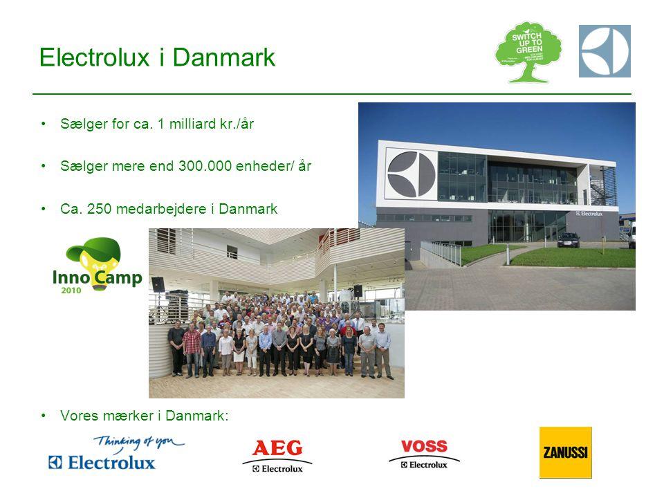 Electrolux i Danmark Sælger for ca. 1 milliard kr./år