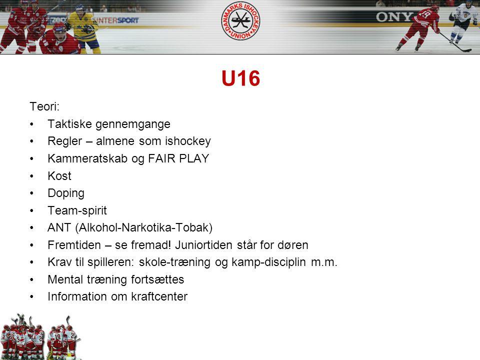U16 Teori: Taktiske gennemgange Regler – almene som ishockey