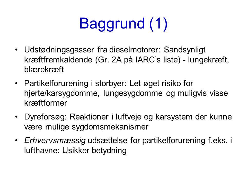 Baggrund (1) Udstødningsgasser fra dieselmotorer: Sandsynligt kræftfremkaldende (Gr. 2A på IARC's liste) - lungekræft, blærekræft.