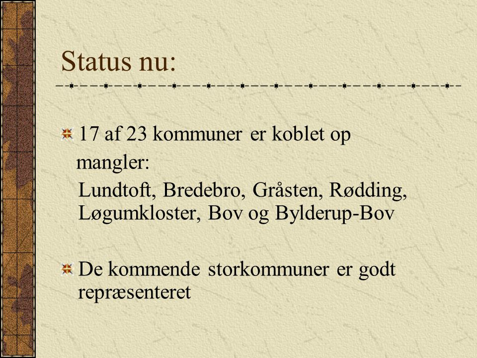 Status nu: 17 af 23 kommuner er koblet op mangler:
