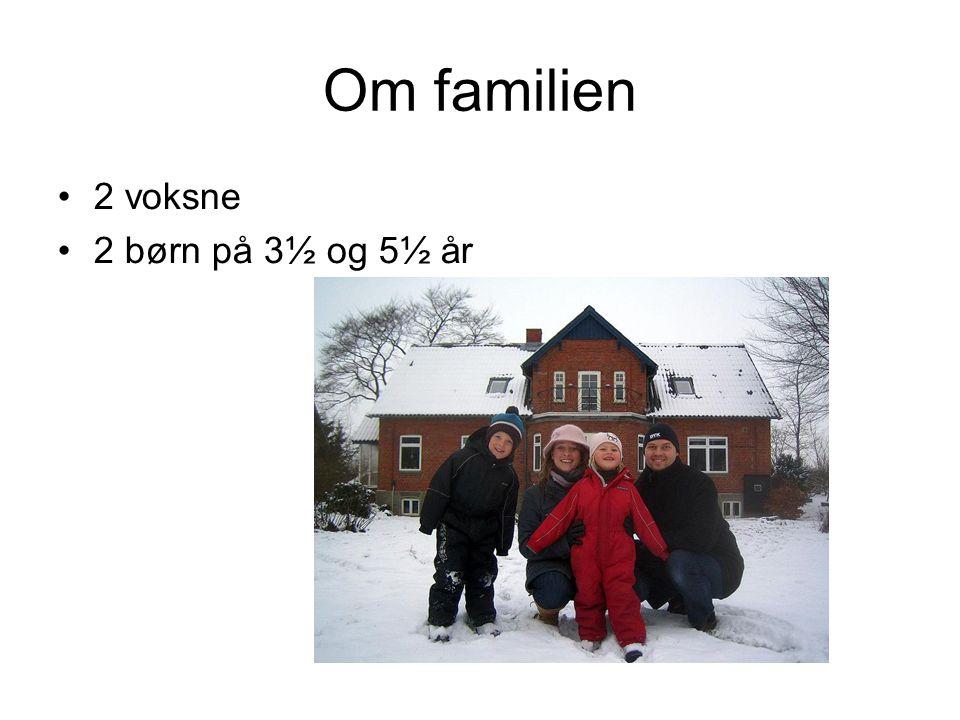 Om familien 2 voksne 2 børn på 3½ og 5½ år