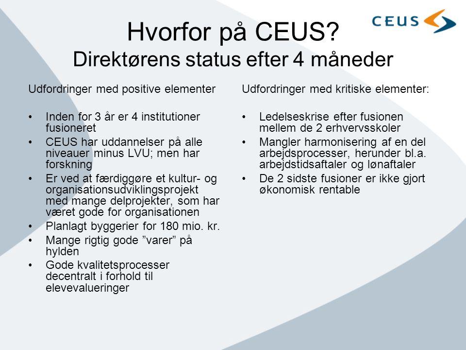 Hvorfor på CEUS Direktørens status efter 4 måneder