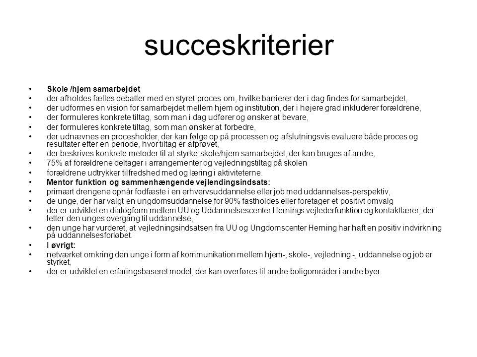 succeskriterier Skole /hjem samarbejdet