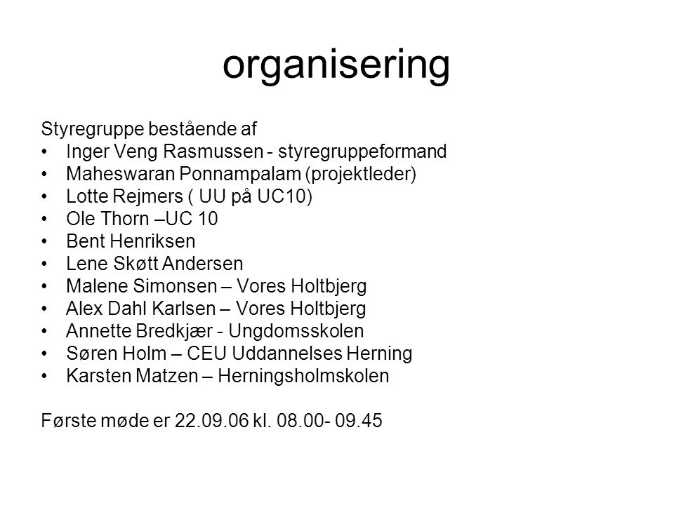 organisering Styregruppe bestående af