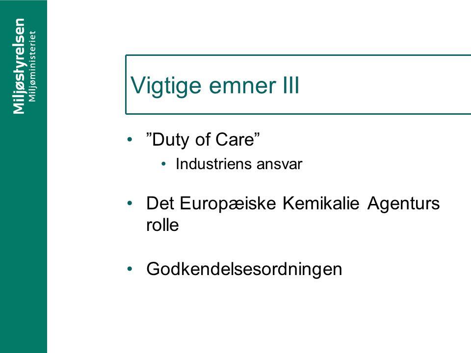 Vigtige emner III Duty of Care