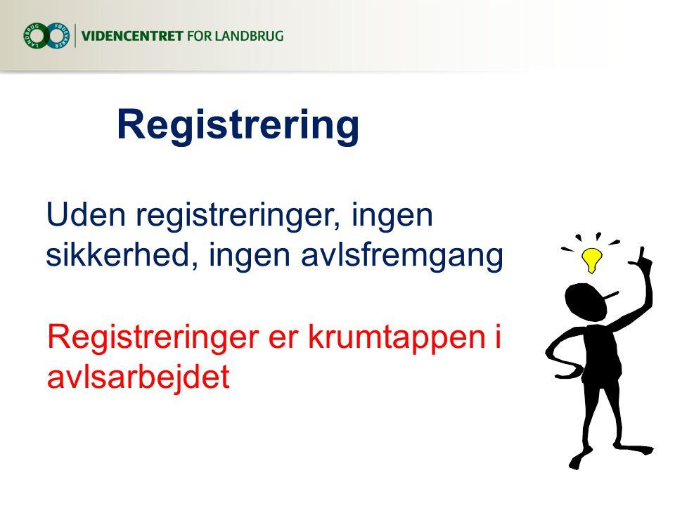 Registrering Uden registreringer, ingen sikkerhed, ingen avlsfremgang