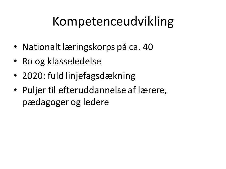Kompetenceudvikling Nationalt læringskorps på ca. 40